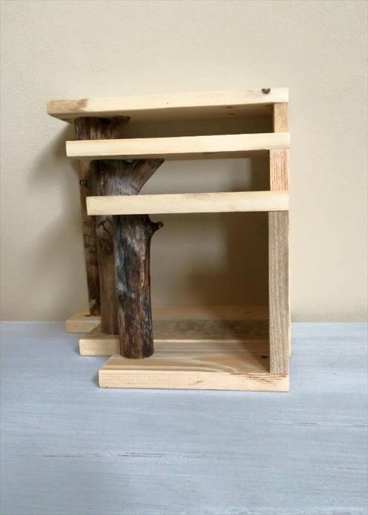 Regained pallet and tree branch shelves