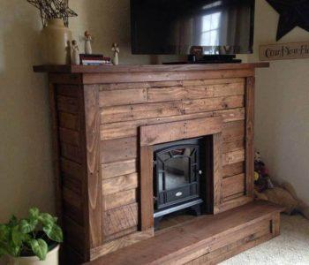self-installed pallet fireplace