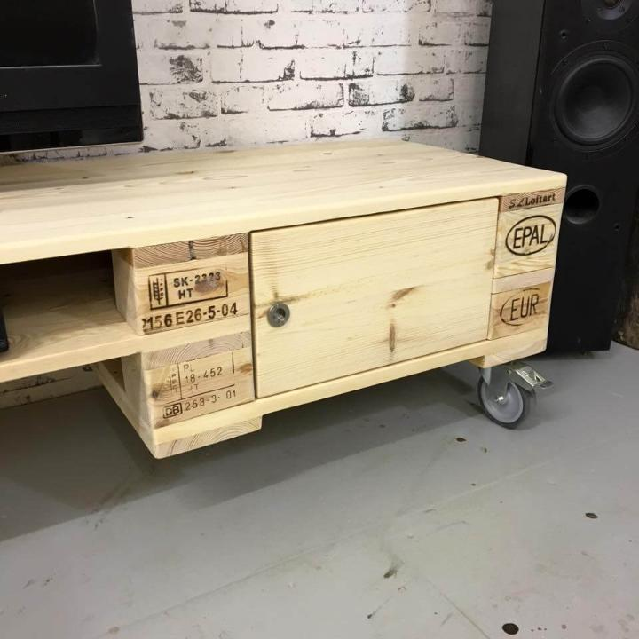 upcycled wooden pallet media cabinet with wheels