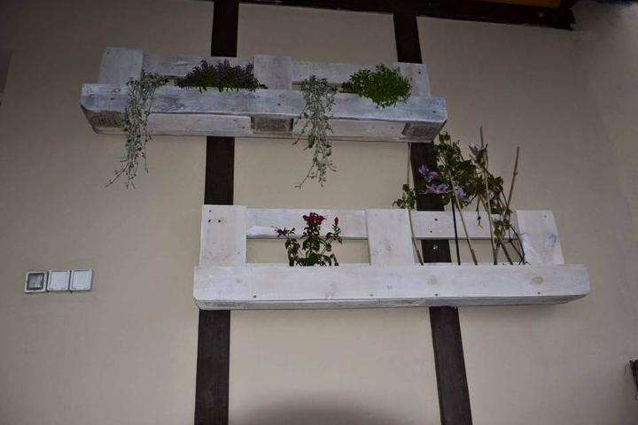 upcycled pallet white planters shelves