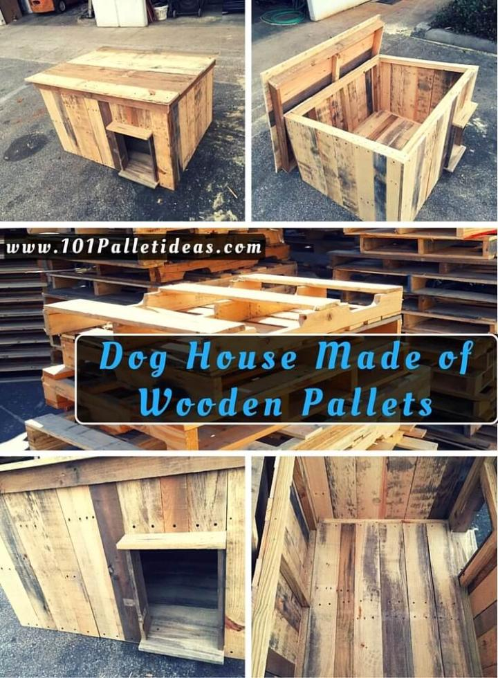 Dog House Made Of Wooden Pallets Easy Pallet Ideas