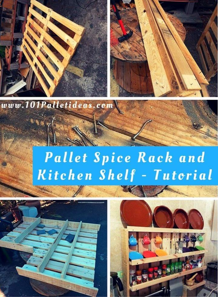 Pallet Spice Rack and Kitchen Shelf