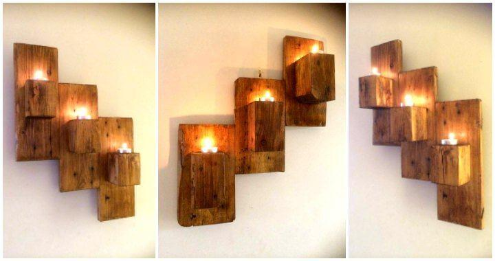 Pallet Wall Mounted Candle Holders Easy Pallet Ideas