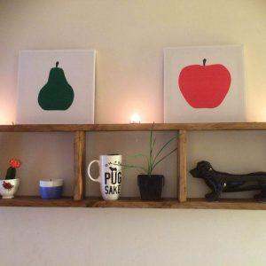 recycled pallet geometrical wall shelf