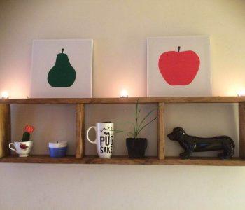 recycled pallet geometrical wall shelf