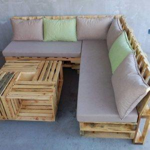 recycled pallet L-shape sofa set