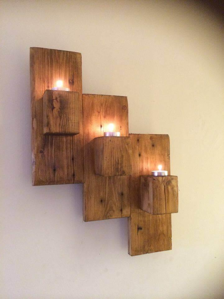 low cost wooden pallet wall hanging candle holder