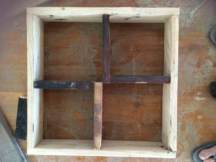 recycled pallet square wall shelf