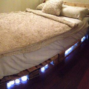 diy pallet bed with under lights