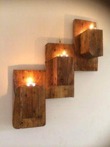 pallet wall hanging candle organizer