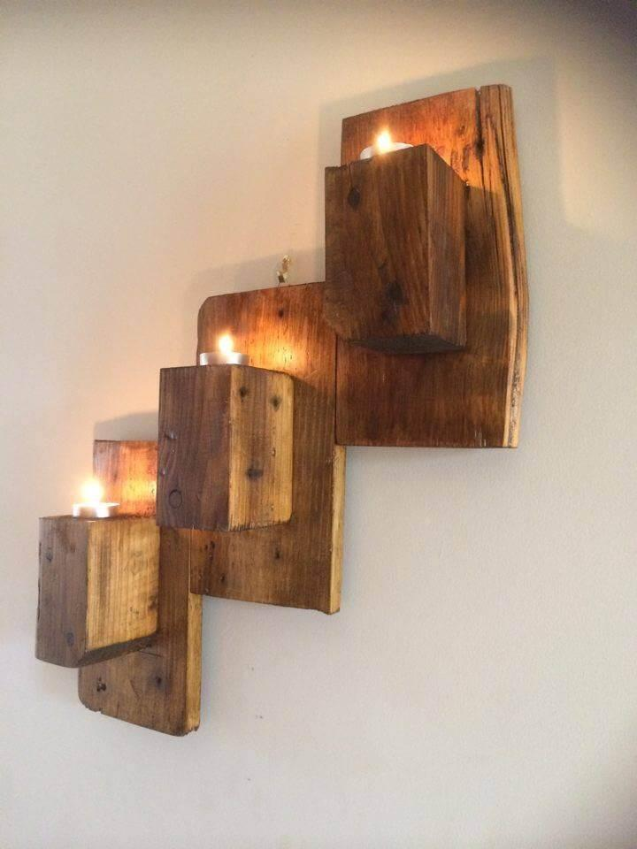 handmade pallet wall hanging candle organizer