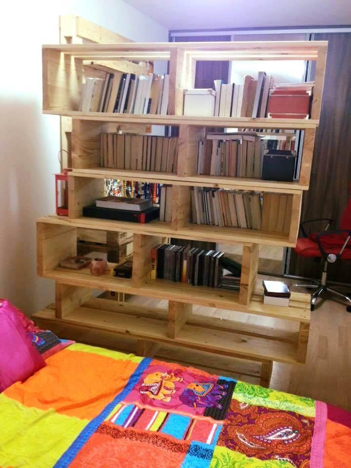 upcycled wooden pallet art style bookshelf