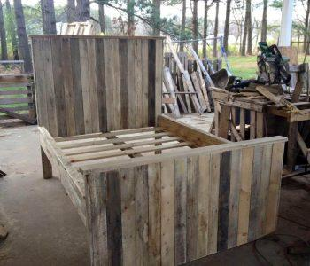 Repurposed pallet bed frame