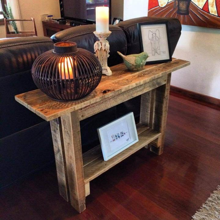 rustic pallet wooden behind sofa table
