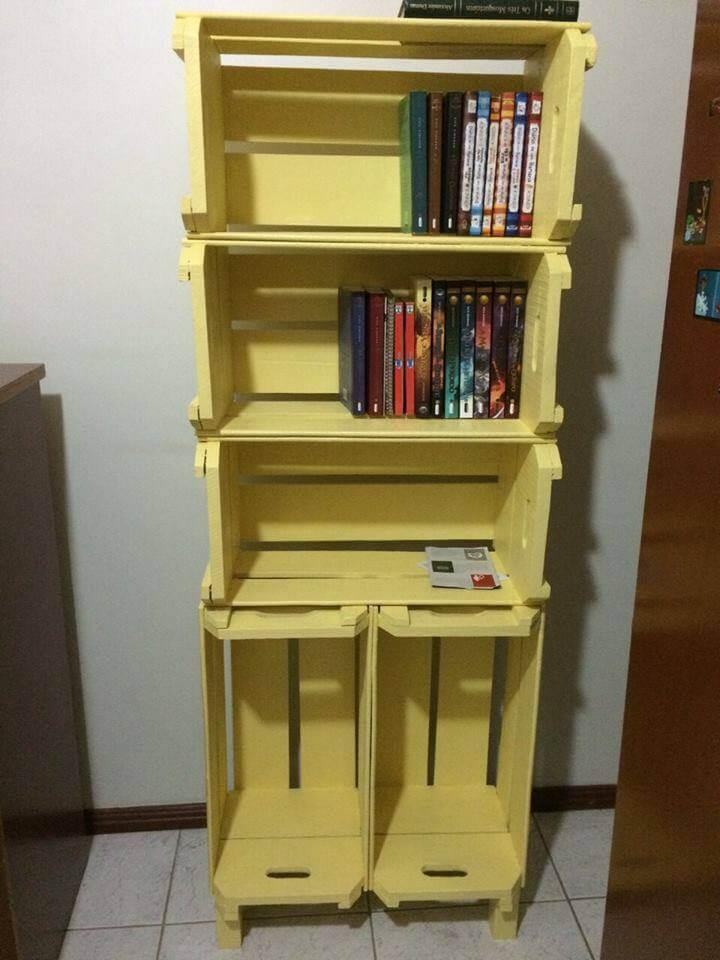 recycled pallet crate bookshelf