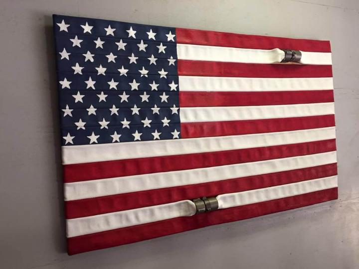 Wooden pallet flag for wall art