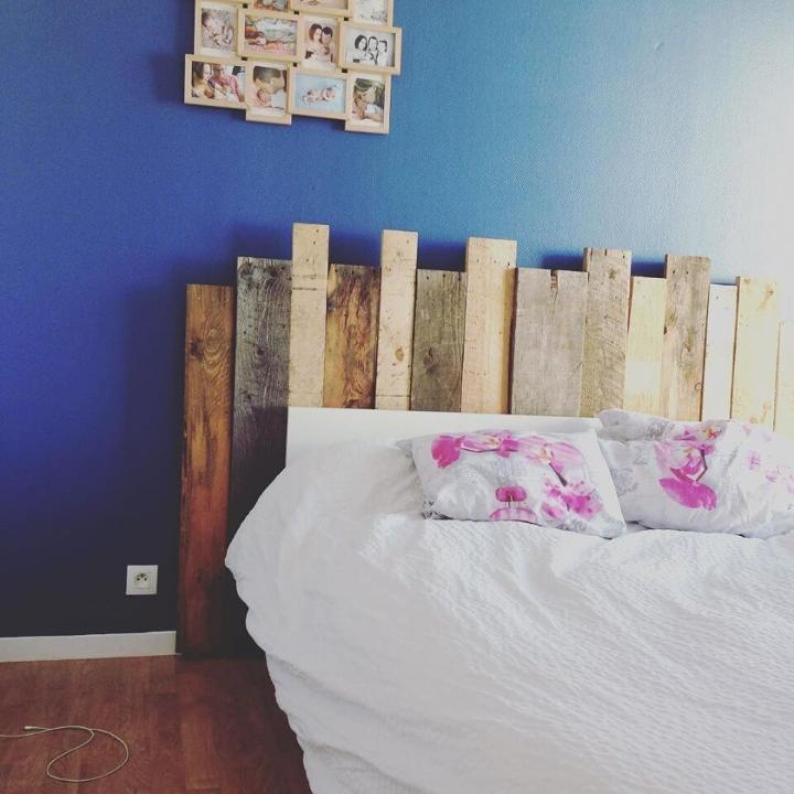upcycled wooden headboard
