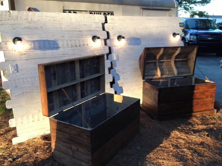 upcycled wooden pallet headboard and chests set