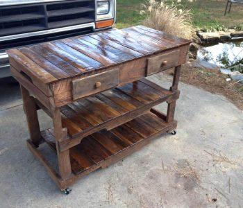 DIY pallet kitchen island with built-in shelves