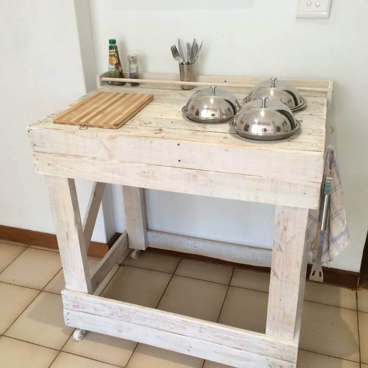 shabby chic white pallet trolley or kitchen island