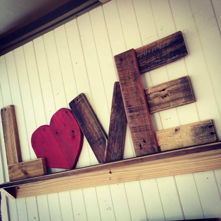 rustic wooden pallet love wall shelf