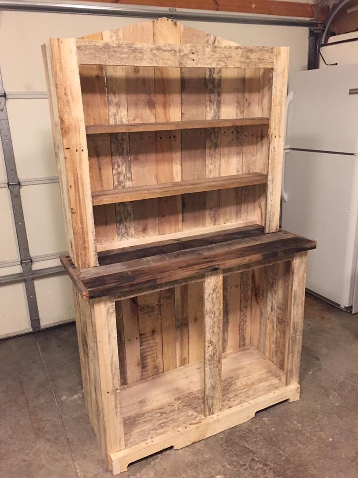 upcycled wooden pallet kitchen hutch