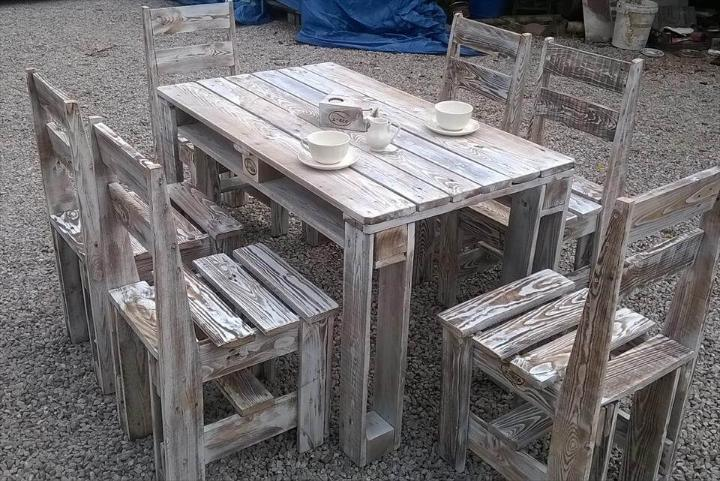 low-cost sturdy pallet outdoor dining set