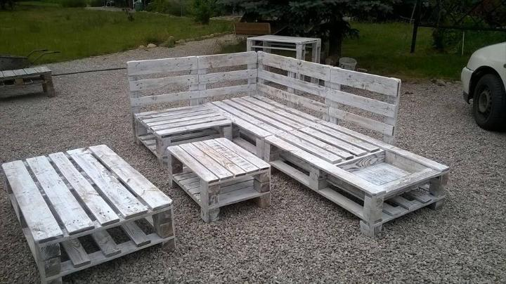 handmade wooden pallet L-shape sofa set