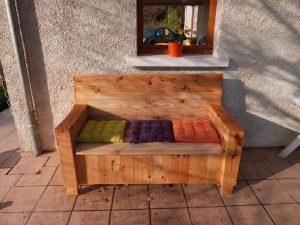 low-cost wooden pallet sofa with storage