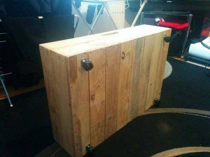repurposed wooden pallet under bed drawer