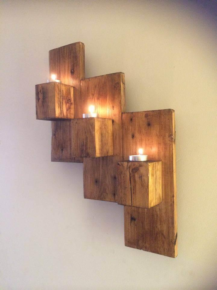 no-cost pallet wall candle organizer