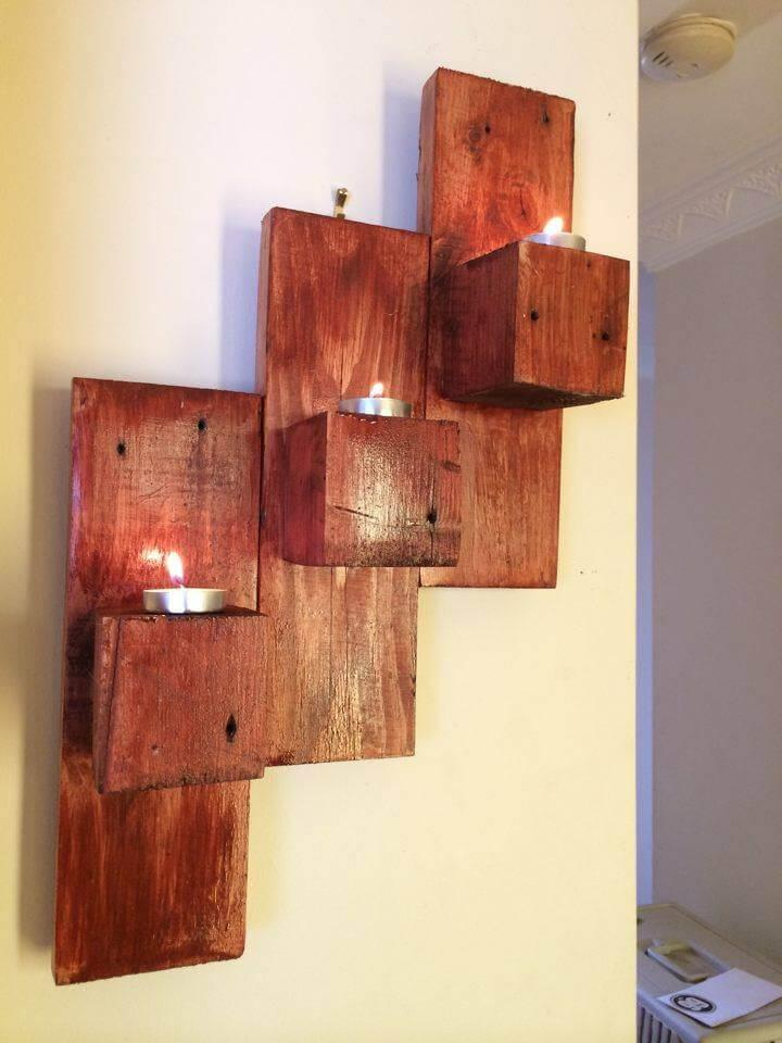 upcycled wooden pallet wall candle organizer