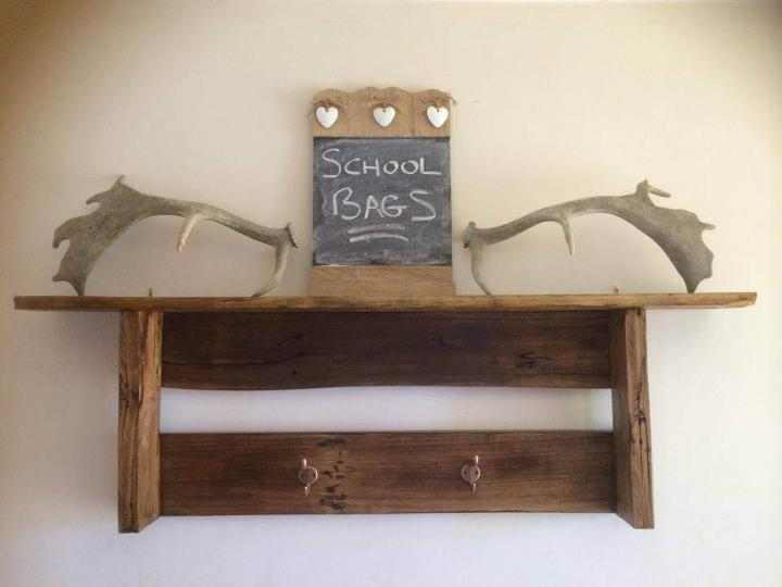 no-cost wooden pallet shelf with coat rack