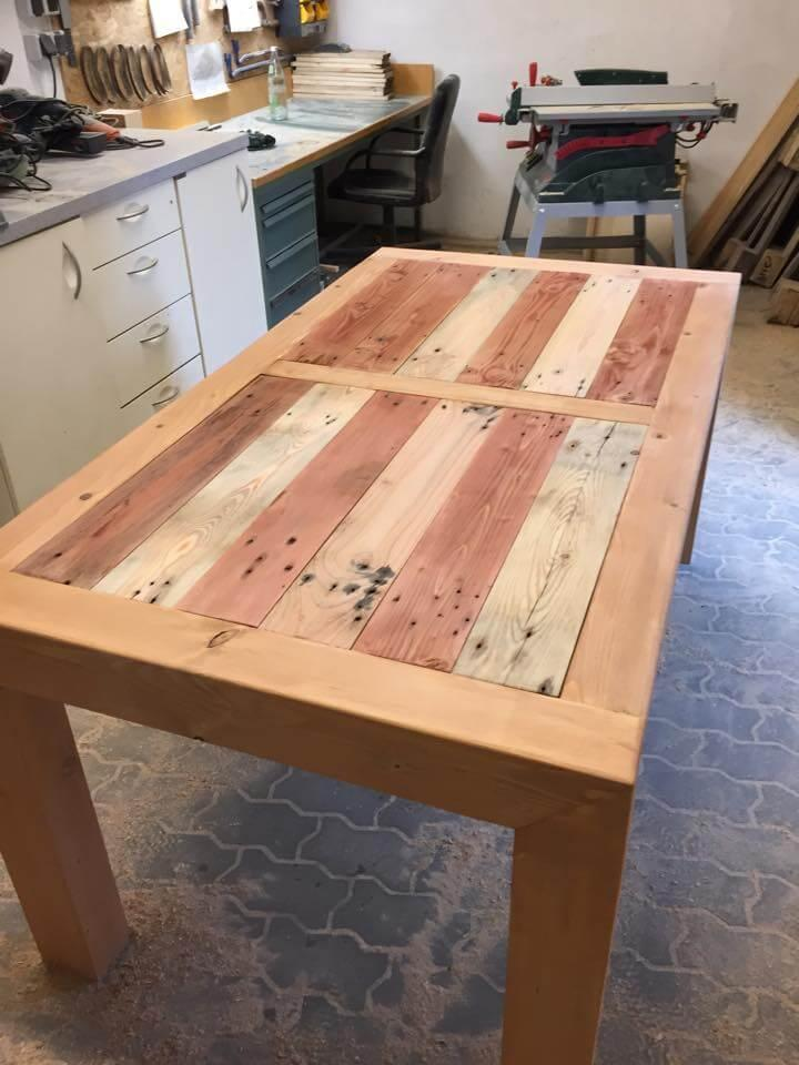 low-cost rustic wooden pallet dining or breakfast table
