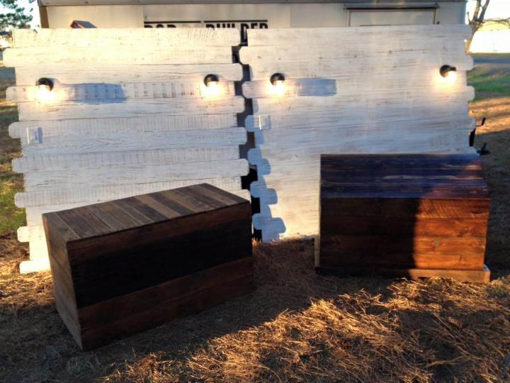 low-cost wooden pallet headboard snad chests set