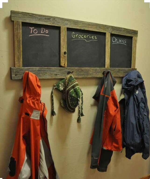 rustic wooden pallet coat rack with chalkboard