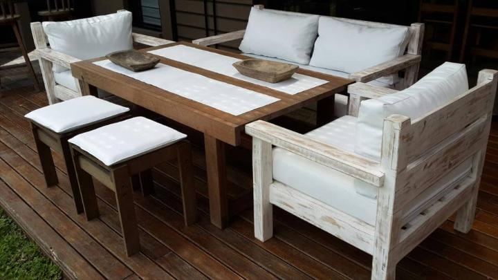 repurposed pallet 6 person dining set