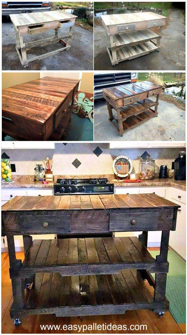 Pallets Made Kitchen Island - Easy Pallet Ideas