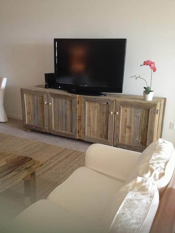 handcrafted pallet large TV stand
