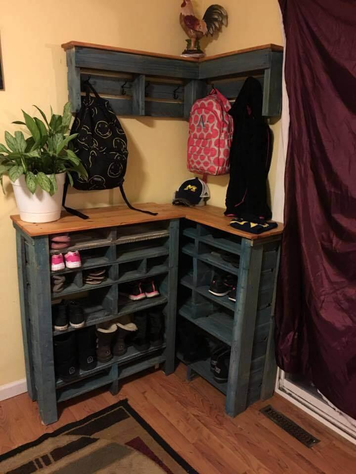 handcrafted pallet sectional shoes rack and shelf