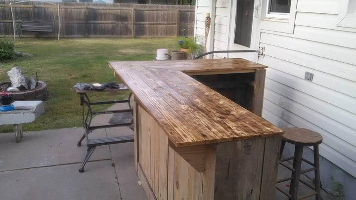 upcycled wooden pallet sectional bar table