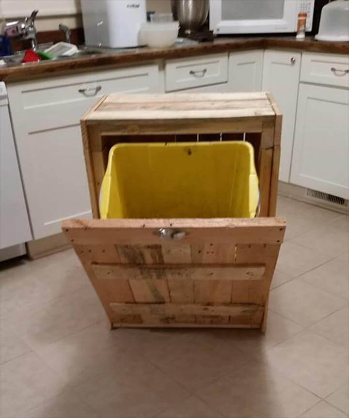 no-cost wooden pallet kitchen trash bin