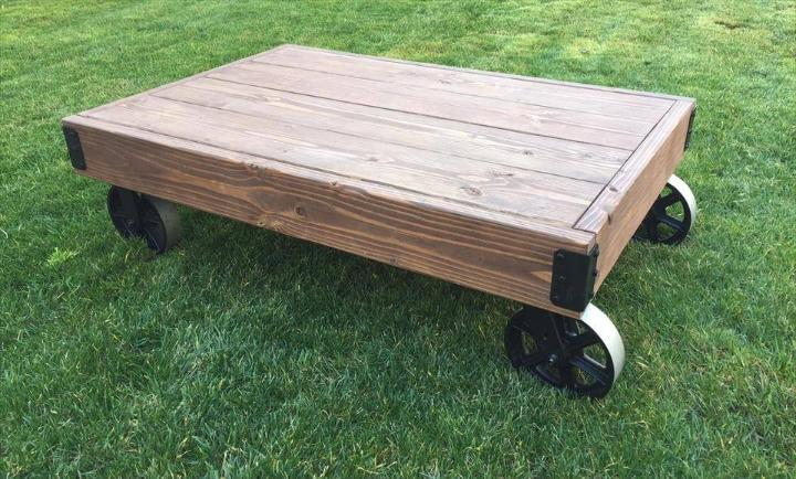 handmade low pallet coffee table with wheels