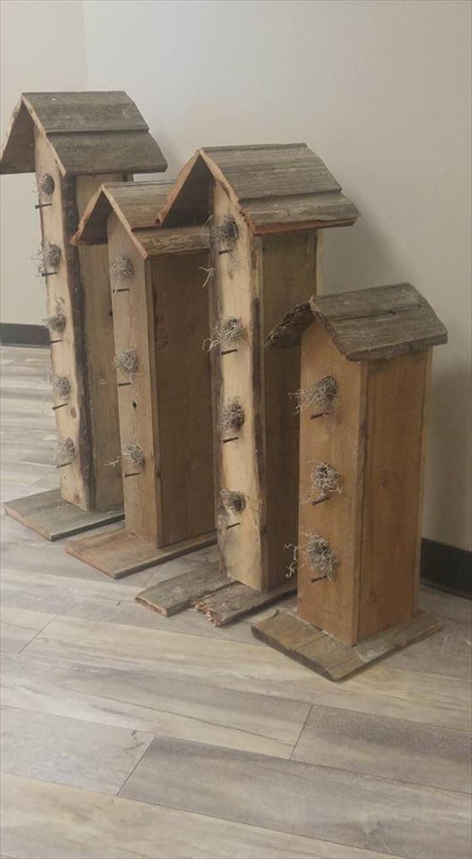 rustic pallet birdhouses