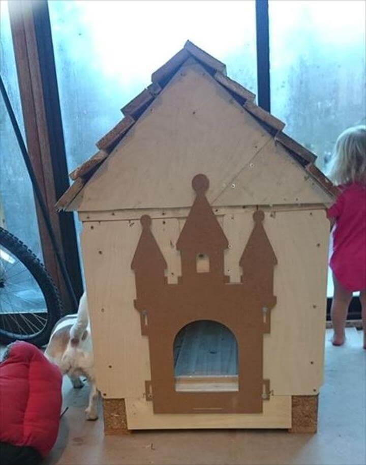 handmade wooden pallet dog house