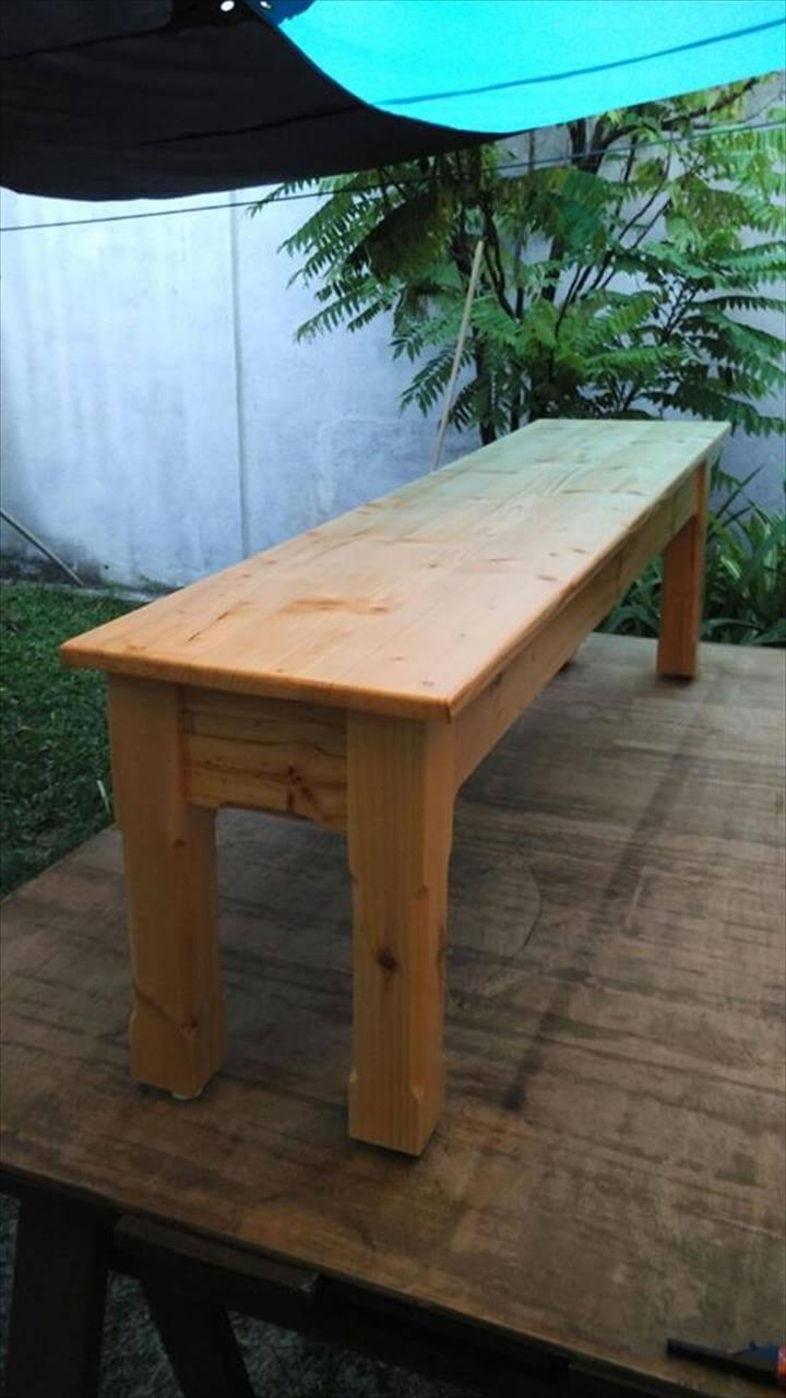 Wooden pallet outdoor bench