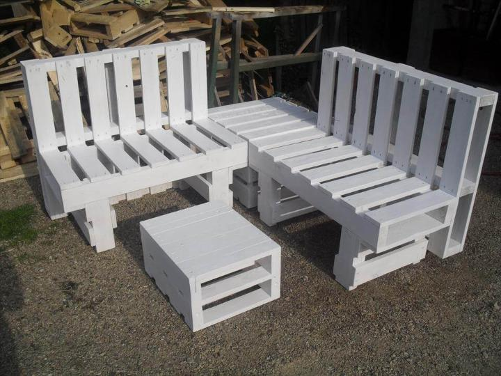 white painted pallet sofa set