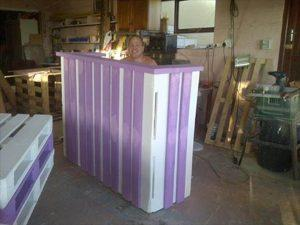 Wooden pallet reception desk