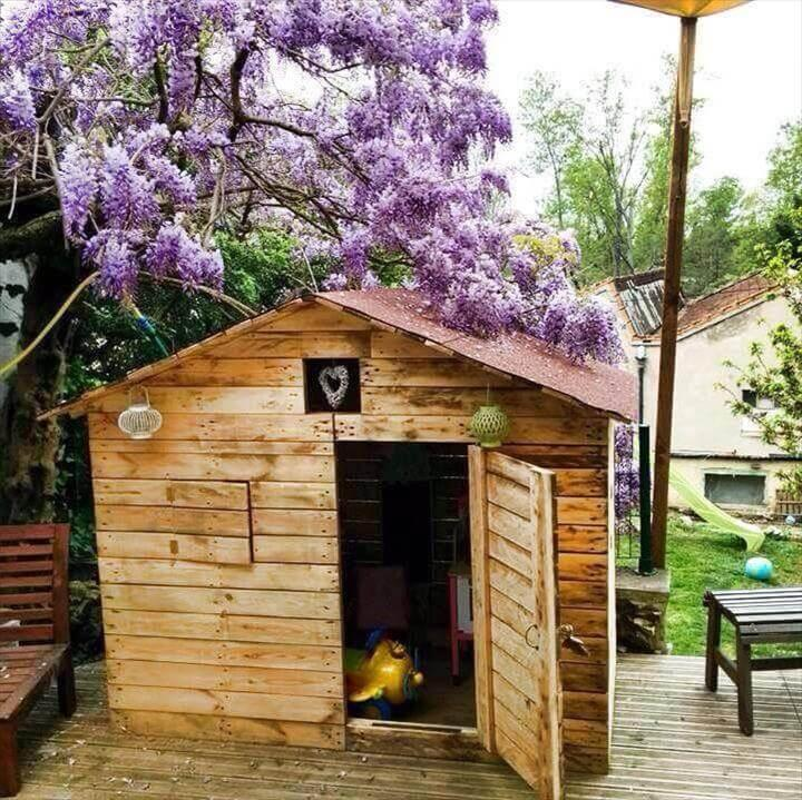 upcycled pallet shed with chevron roof