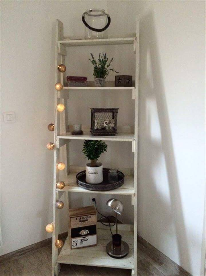 diy pallet stair style display shelf
